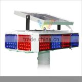 Four aspects red blue flashing module road construction safety solar power led warning light
