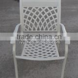 bistro chair aluminum/cast aluminum chair/aluminum stacking chair coffee shop dininig chairs white color lattice motif
