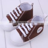2014 new baby product boys brown cotton baby canvas shoe newborn shoes for boys prewalking