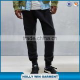 Dark black soft wear slim cotton tri-runner sweatpants for men