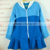 New style ruffle Knitted plain baby girl kid children long sleeve frozen elsa hooded fleece jacket sweatershit coat for winter