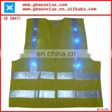 factory custom made light mesh led tubes flashing led lights high visibility Flashing LED security vest