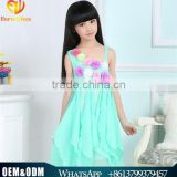 New Children Girl Dress Style 5-13 Years Old Frock Design Summer Beach Wear Flower Sling Chiffon Dresses