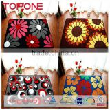 Comfortable flower pretty design custom rubber back carpeted door mat