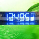 12 inch Outdoor waterproof IP65 high quality IR and RF remote programmable blue color 6 digit led time and temperature