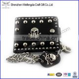Men's skull biker studded leather unique wallet chains with a jeans long key chain