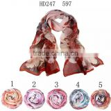 Latest lady's fashionable classic printed polyester chiffon georgette longscarf, chiffon scarves and shawls