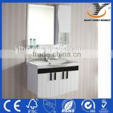 Modern Hanging White Bathroom Cabinet With Towel Rack And Mirror