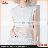 Latest fashion women tank top wish fish net bottom ladies crop top with mesh bottom                                                                                         Most Popular