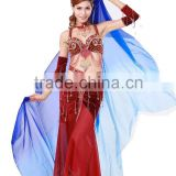 Elegant real silk belly dance veil in gradation colors for ladies wear in practice or performance (SJ003)