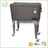 Rattan type ice bucket 80QT Cooler cart with bottle opener and bottle-cap catcher drink cooler cart                                                                         Quality Choice