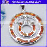 925 Sterling Silver Pendant Necklace Orange Fire Opal Gemstone Circle Necklace Pendant Wholesale