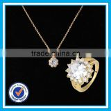 Artificial crystal gold ring necklace 2pcs set girl bijoux jewelries