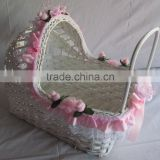 Chinese Antique Folk Art Handmade Wicker Baby Basket Baby Moses Basket