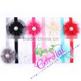 Chiffon Flowers Headband With Pearl Center Baby Flower Headband Children Hair Accessories Photo Props