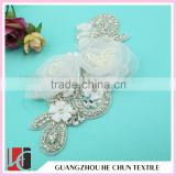 HC-2104 Crystal Bead Applique for Headband ,Lace Flower Pearl Applique with Hot Fix Rhinestones in Bulk