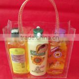 Customized clear pvc bag with button with handle /customized pvc bag with button/ pvc plastic bag for shampoo