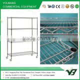 2015 hot sell NSF 150KGS 60x24 inch heavy duty 4 layer chrome hospital wire tire rack with wheels (YB-WS018)