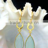 Aqua Chalcedony Long Pear Brass Earrings, Gold Plated Fashion Earrings, Designer Dangle Earrings