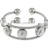 Wholesale Alibaba Vners La Preciosa Steel White Enamel and Crystal Double Rope Cuff Bracelet Vners