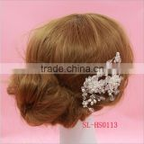 Stunning Vantage Clear Crystal Pearls Flower Wedding Hair Comb Dangle Crystal Bridal Hair accessorie