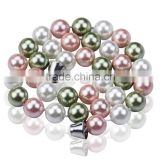 12mm Multi-color Perfect Round Shell Pearl Necklace SSN020