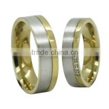 The New Couple Rings 18k Gold Plated Titanium Steel Wedding Rings Engagement Rings Wholesale