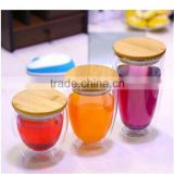 250ml/350ml/450ml orosilicate glass tea cup double wall glass cup with glass lid or bamboo lid,in stock