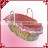 Natural soft straw woven carry or sleeping used moses basket baby