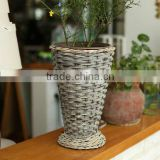 handmade plastic lined wicker basket for flower plant decoration wicker flower planter pot