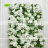 GNW FLW1705004 Silk Rose Hydrangea With Green Leaves Artificial Flower Wall Backdrop For Wedding Stage Decoration