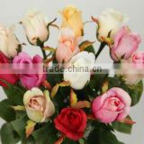 cheap silk single stem artificial rose decorative fabric flowers wholesale valentine's day gift