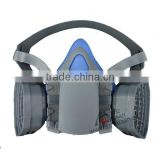 Half face gas mask with double filter cartridges