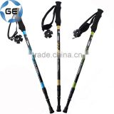 Rubber Grip 3 Sections Telescopic Trekking Pole Outdoor Walking Alpenstock Carbon Fiber Climbing Hiking Stick