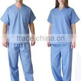 Medical scrubs uniform polyester custom high quality hospitality dress nurse tunic trouser & cap medical scrub v neck suits