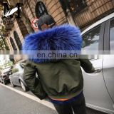 Fur Hooded Women Bomber Jacket Coat Black Shell Rex Rabbit Fur Custom Bomber Jackets