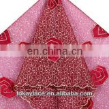 2013 new arrival red french lace and velvet fabric for wedding and party