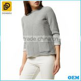 Wholesale korean fashion three-quarter sleeves grey ribbed boxy jumper women latest tops design