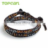 Topearl Jewelry Tiger Eye Hematite Fashion Bracelet Woven Leather Wrap Bangle 13.5 Inches CLL128