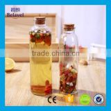 350ml 500ml ice tea bottle clear round glass beverage bottle with cork