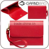 Genuine Saffiano Leather red Branded Business Name CardHolder Credit Card Bag Coin Purse with removable wristbands for ladies
