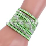 Fashion velour leather bling bracelet for gilrs best prices velvet bracelet with crystal