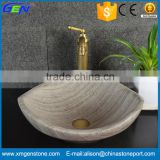 Fancy Cheap Bathroom Natural Grey Wooden Vein Marble Sinks                                                                         Quality Choice