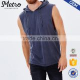 OEM Fashion Mens Washed Spun Out Sleeveless Muscle Hoodies