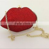 New arrival 3 Colors Popular Sexy Women Lady Clutch Chain Shouder Bag Evening Bag Red Lips Shape Purse crystal Women Handbag