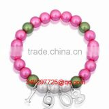 sorority AKA 1908 charm bracelet made of pink green imitation pearl beads and metal alloy 1908 charm AKA-SL007