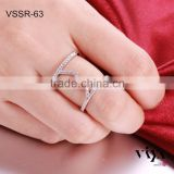 Wholesale rings jewelry, silver ring with Cubic Zirconia stone, rhodium platted rings jewelry