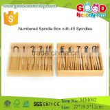 Montessori Wood Toys Numbered Spindle Box with 45 Spindles/montessori teaching Mathematics Tools/Educational Montessori Toy