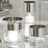 Platinum Band Clear Glass Candleholder