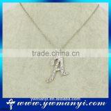 Crystal cheap factory price rhinestone letter A pendant neckalce for woman P0009